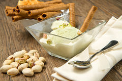 Ice cream pistachio Stock Images