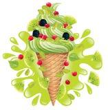 Ice cream pistachio with kiwi Royalty Free Stock Photography
