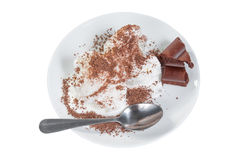 Ice cream with on plate and chocolate bar Stock Photo