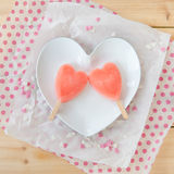 Ice cream pops in heart shape Royalty Free Stock Photo
