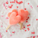Ice cream pops in heart shape Royalty Free Stock Photos
