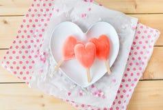 Ice cream pops in heart shape Stock Photo