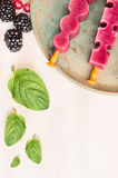 Ice cream pops with summer berries and  peppermint leaves on white wooden background, top view Royalty Free Stock Image