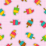 Ice cream popsicle patch icon seamless pattern Stock Photography