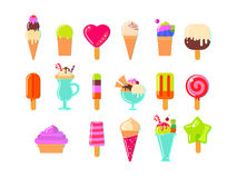 Ice cream and popsicles big set Royalty Free Stock Photos