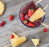 Ice cream popsicles with fruit Stock Photography