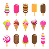 Ice cream and popsicles isolated on white. Colorful ice cream, ice-cream lolly and popsicles isolated on white background. Vector illustration. Sweet dessert Stock Image