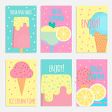 Ice cream posters, banners and cards in flat style Stock Images