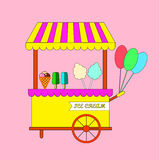 Ice Cream Posters Set in Flat Design Style. Ice Cream Vendor and Trolleys Stock Photos