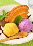 Ice cream with puff pastry biscuit Royalty Free Stock Photography