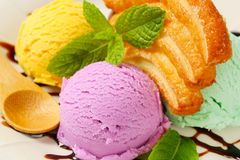 Ice cream with puff pastry biscuit Royalty Free Stock Image