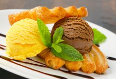 Ice cream with puff pastry biscuits Royalty Free Stock Image