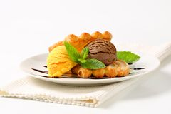 Ice cream with puff pastry biscuits Stock Photo