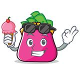 With ice cream purse character cartoon style Royalty Free Stock Photo