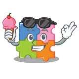 With ice cream puzzle character cartoon style Stock Photo