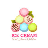 Ice cream pyramid banner with sample text. Logotype. Vector illustration Royalty Free Stock Photography