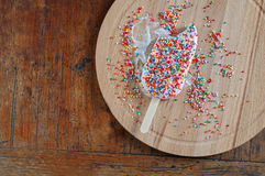 Ice Cream with Rainbow Sprinkles Topping Stock Photography
