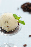 Ice cream raisin in a wine glass Stock Photos