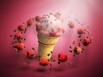 ice cream with raspberries and chocolate crumbs in a waffle cup Royalty Free Stock Photos