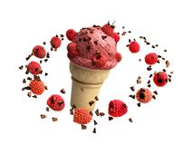 ice cream with raspberries and chocolate crumbs in a waffle cup Stock Image