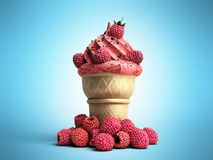 ice cream with raspberries and chocolate crumbs in a waffle cup Royalty Free Stock Photography
