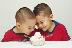 Ice Cream Ready to Eat - #2. Two preschool brothers ready to enjoy a large bowl of strawberry-cheesecake ice cream stock images