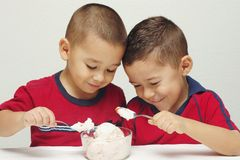 Ice Cream Ready to Eat - #5. Two preschool brothers digging into a large bowl of strawberry-cheesecake ice cream stock photo