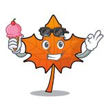With ice cream red maple leaf character cartoon stock illustration