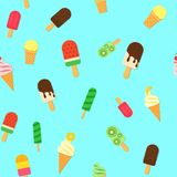 Ice Cream repeat seamless pattern in trandy paper cut style.. Tasty bright icecream stick and cones summer on blue Stock Photos