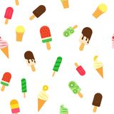 Ice Cream repeat seamless pattern in trandy paper cut style.. Tasty icecream stick and cones summer bright background Royalty Free Stock Photography