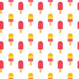 Ice Cream repeat seamless pattern in trandy paper cut style.. Tasty summer bright icecream stick on white background for Royalty Free Stock Photo
