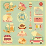 Ice Cream Retro Labels Royalty Free Stock Photography