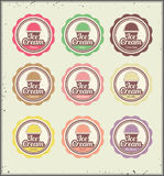 Ice cream retro labels set Royalty Free Stock Photo