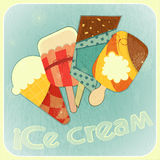 Ice cream retro menu cover Stock Images