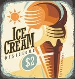 Ice cream retro poster design concept Royalty Free Stock Photos
