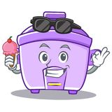 With ice cream rice cooker character cartoon Royalty Free Stock Photo