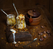 Ice cream on rustic wooden background Stock Photos
