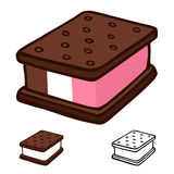 Ice cream sandwich. Cartoon illustration design vector Royalty Free Stock Images