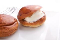 Ice Cream Sandwich. Vanilla Ice Cream Sandwich on white dish Royalty Free Stock Image