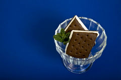 Ice cream sandwich. An ice cream sandwich served in a fancy manner on a blue background Stock Image