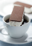 Ice cream sandwich and coffee Royalty Free Stock Photo