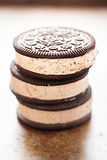 Ice cream sandwich Oreo - chocolate flavoured sandwich biscuits filled with vanilla flavour ice cream with crushed biscuit stock photography