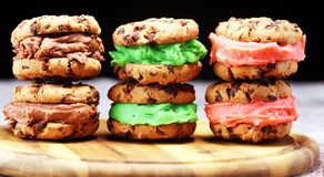Ice cream sandwiches with strawberry and chocolate. Chocolate Chip Cookie Ice Cream Sandwich. Ice cream sandwiches. Chocolate Chip Cookie Ice Cream Sandwich on royalty free stock images