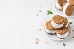 Ice cream sandwiches. With nuts and wholegrain cookies. Homemade vanilla  on white background, copy space royalty free stock image