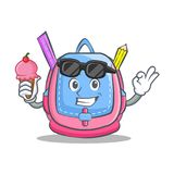With ice cream school bag character cartoon. Vector illustration Royalty Free Stock Images