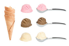 Ice Cream Scoops. Scoops of ice cream with waffle cones on white background Stock Photos