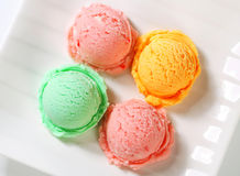 Ice cream scoops on plate Royalty Free Stock Photo