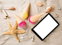 Ice cream scoops on sandy beach Royalty Free Stock Photo