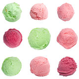 Ice cream scoops set. Isolated on white background royalty free stock images