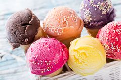 Ice cream scoops Royalty Free Stock Images